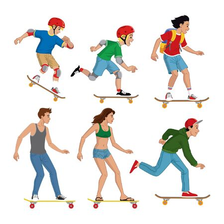 set bundle of boy and girls enjoying skateboard