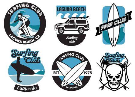 badge design collection of surfing Ilustração