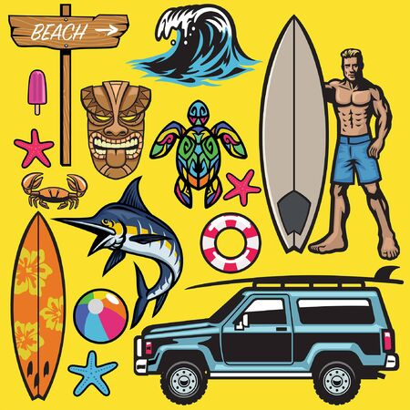 set collection of surfing and beach object Ilustração