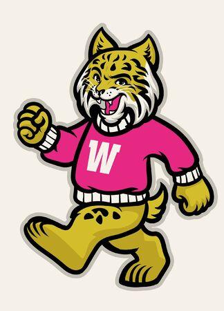 vintage college mascot of wildcat animal Ilustração