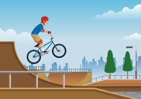 boy riding bmx bike at the skatepark Ilustração