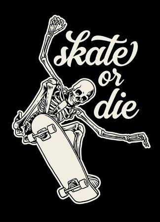 vintage t-shirt design of skull skateboarding
