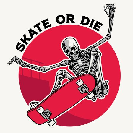 vintage illustration of skull skateboarder ollie
