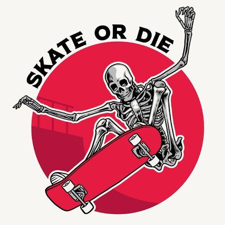 vintage illustration of skull skateboarder ollie