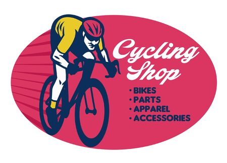bicycle shop sign with cyclist image