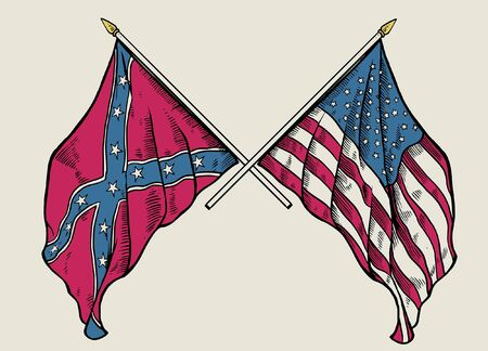 hand drawing style of american civil war flag