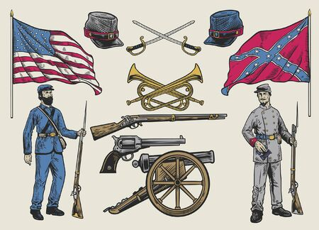 set vintage collection of american civil war Illustration