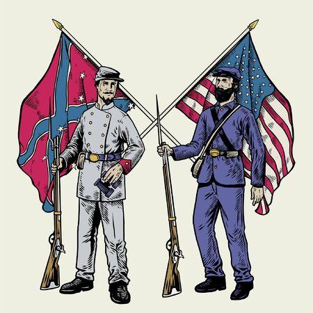 vintage illustration of two soldiers American civil war Vector Illustration