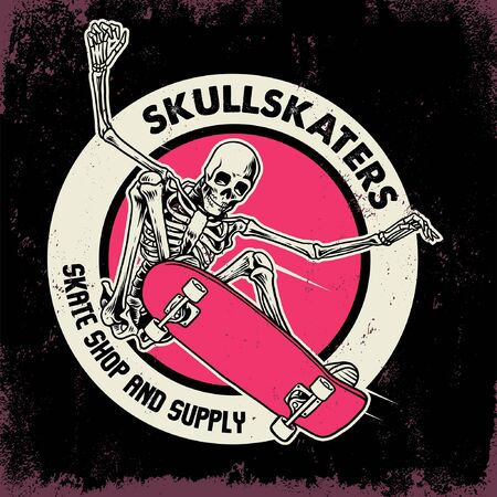 badge design of skull skaters Stock Illustratie