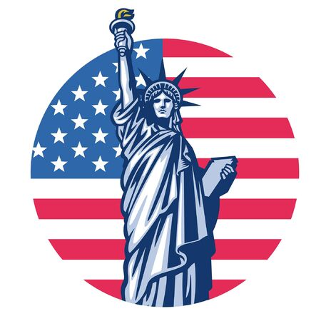 liberty statue with US flag background