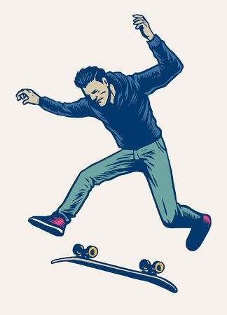 man enjoying skateboard in hand drawing style Stock Illustratie
