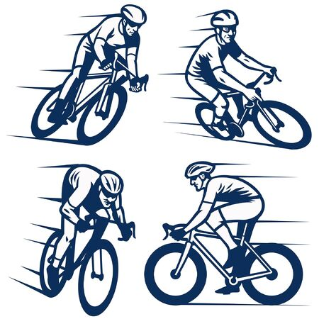 set vector line art of cycling people