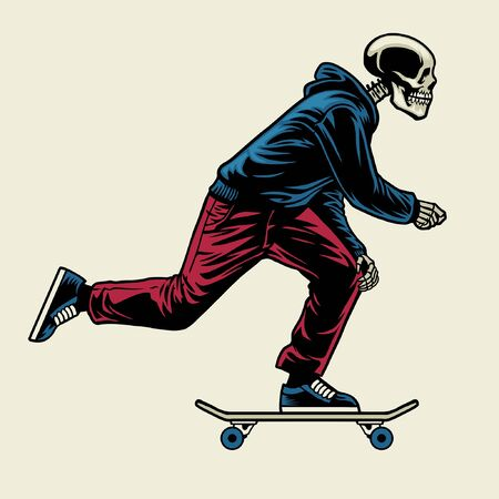 Handzeichnung des Schädels, der Skateboard spielt Vektorgrafik