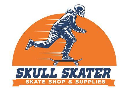 Vintage Handzeichnung Schädel genießen Skateboard