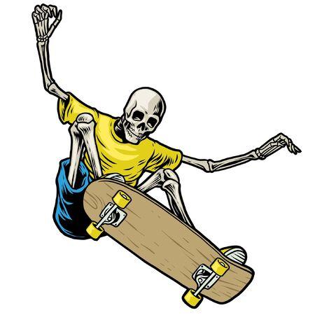 Hand-Zeichnungnskull spielt Skateboard und macht Ollieol