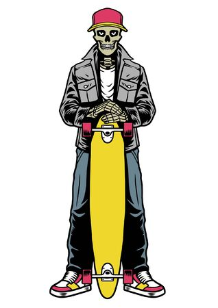skull posing hold the longboard Stock Illustratie