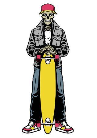 Totenkopf posiert das Longboard halten