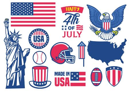 set vector of 4th July US independence day object