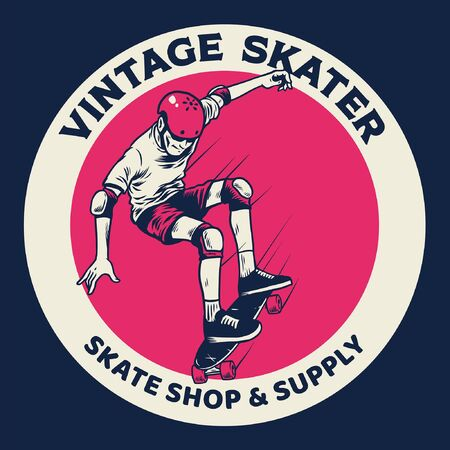 vintage hand drawing boy playing skate board