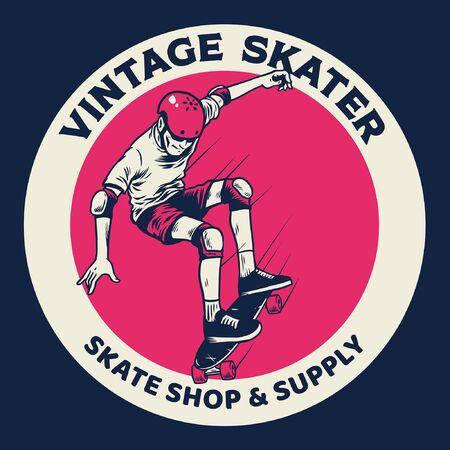 Vintage Handzeichnung Junge spielt Skateboard Vektorgrafik