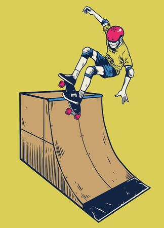boy playing skateboard in vintage hand drawing style Illustration
