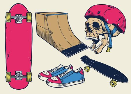 Stellen Sie den Vektor des Skateboardobjekts und des Schädels ein Vektorgrafik