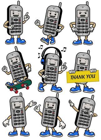 set bundle of cellphone mascot character