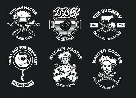 set cooking kitchen badges design concept