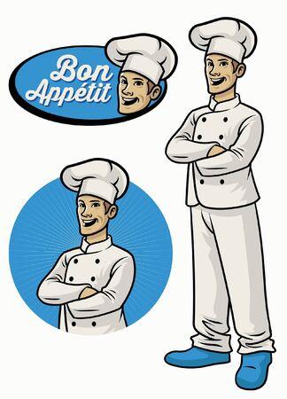 set of chef mascot crossing arm pose