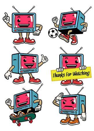 set bundle character of television mascot