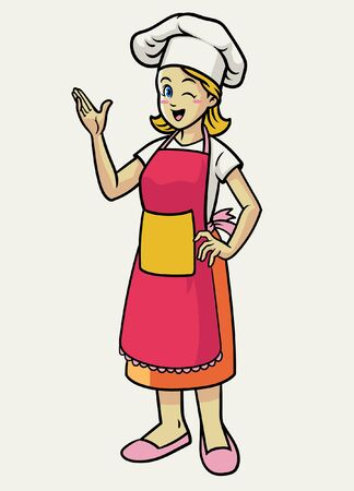 happy women wearing apron and chef hat
