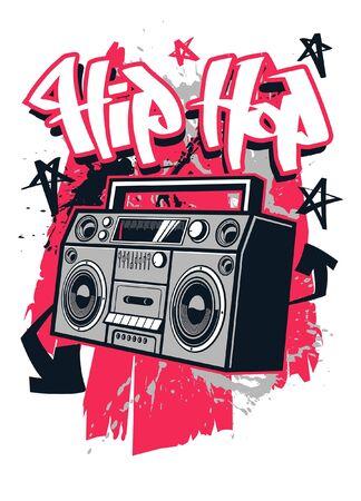 t-shirt design of boombox hip hop design Ilustração