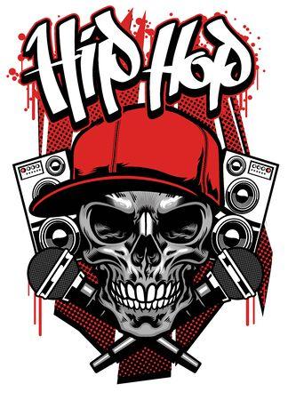 t-shirt design of hiphop skull