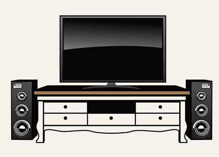 flat television and audio system with the tv table Illustration