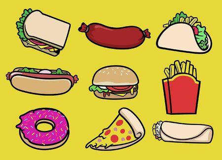 set bundle of fast food