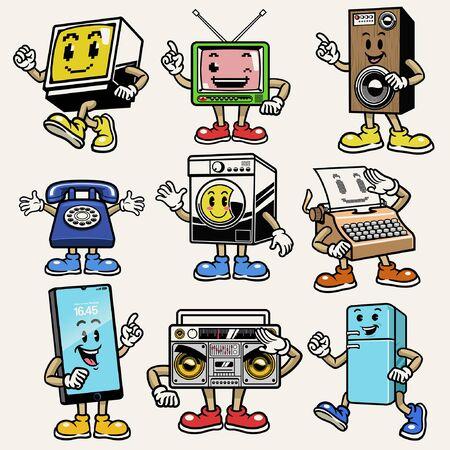set bundle mascot of electronic appliances character
