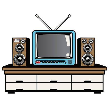 retro tv and audio system on the table Ilustração