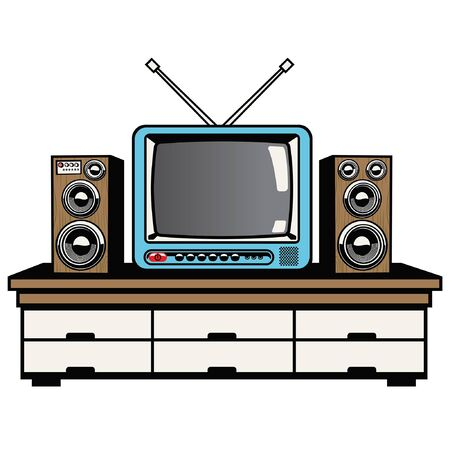 retro tv and audio system on the table Illustration