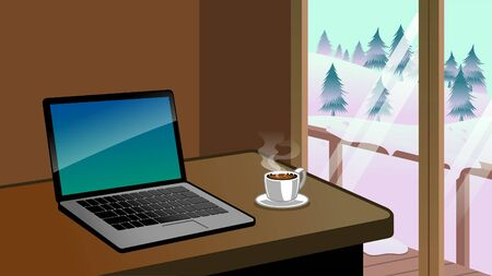 laptop and coffee on the table beside of the big window