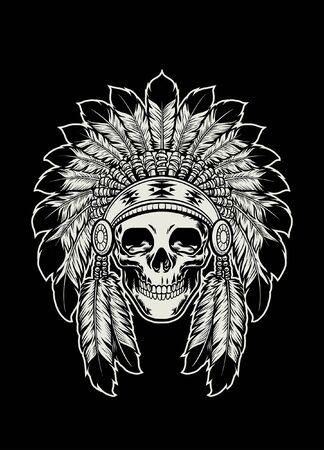 skull of indian chief wearing the head dress Ilustración de vector