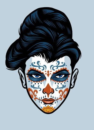 women in day of the dead celebration wearing sugar skull make up Standard-Bild - 141295078