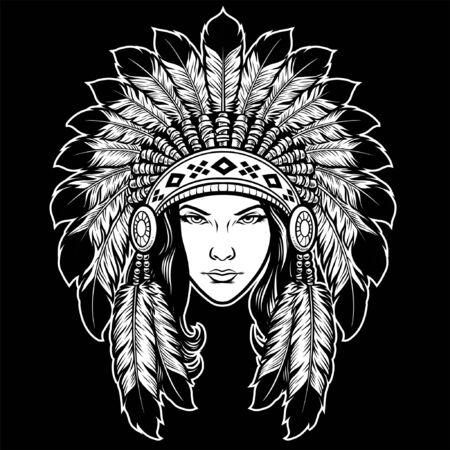 women head wearing american indian headdress