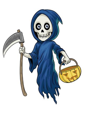 cartoon grim reaper with halloween pumpkin Banco de Imagens - 136017962
