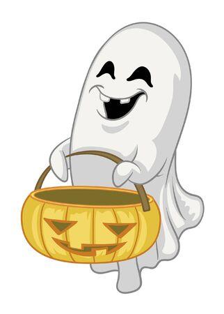 cartoon ghost with halloween pumpkin Banco de Imagens - 136017964