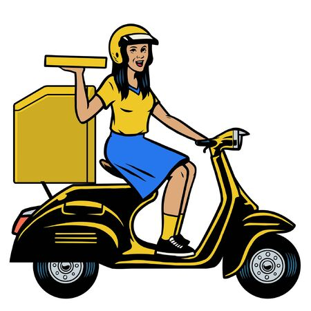 women delivery pizza worker riding the scooter motorcycle Ilustração