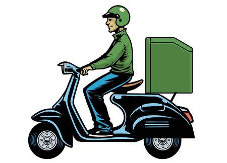 Lieferarbeiter, der Rollermotorrad mit Kasten fährt