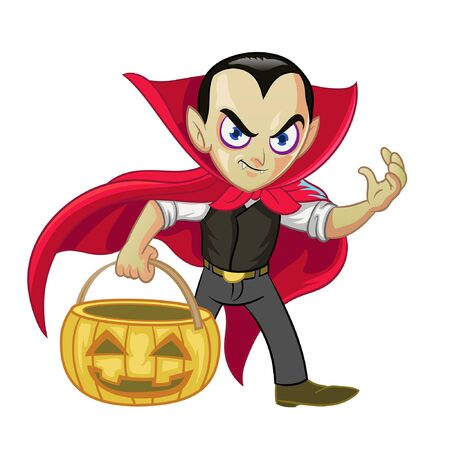 cartoon of dracula bring the halloween pumpkin Banco de Imagens - 136017968