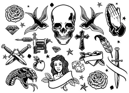 set bundle of tattoo objects Banco de Imagens - 136017973