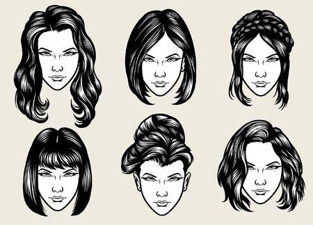set of beautiful women hair styles