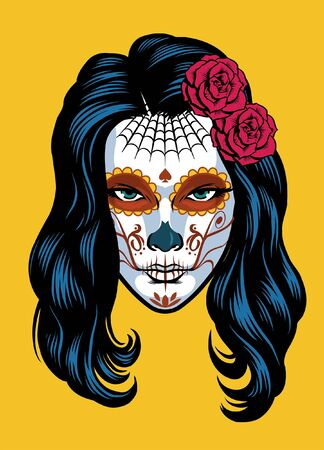 beautiful women wearing day of the dead make up